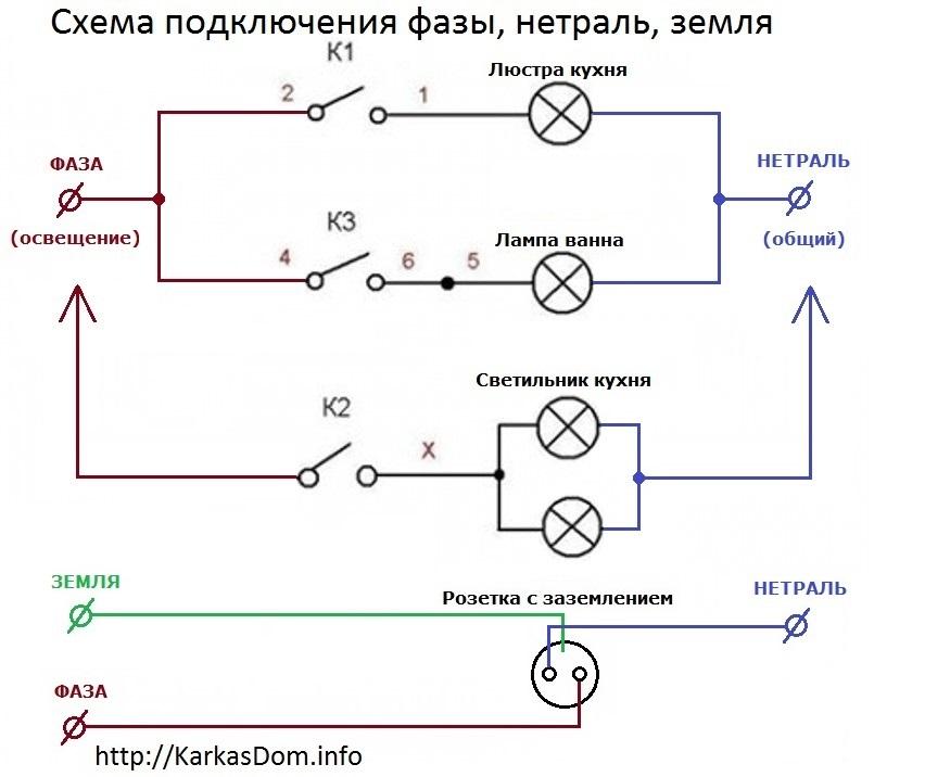 Схема подключения фазы, нуля
