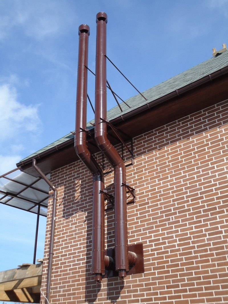 Красивый металлический дымоход проход дымохода через стены в