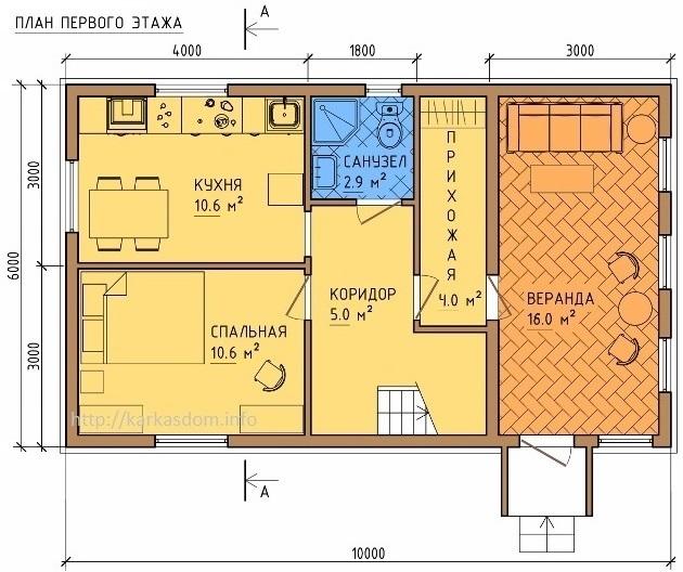 План каркасного дома 6х10м 105м/кв, первый эт.