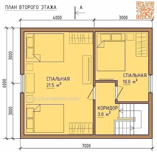 План каркасного дома 6х10м 105м/кв, второй эт.