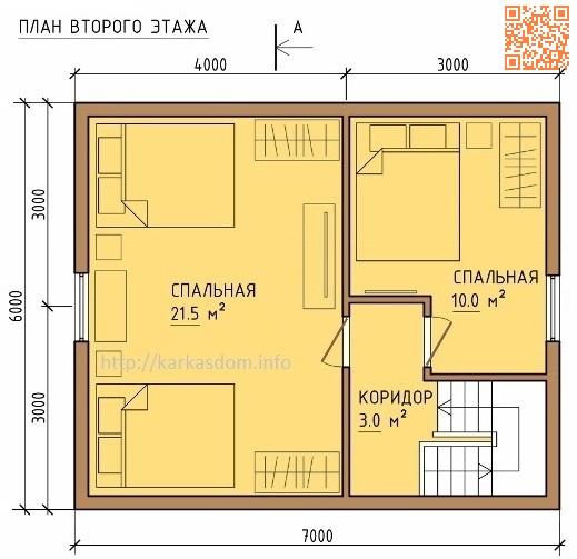 План каркасного дома 6х10м 102м/кв, стандартный вариант.