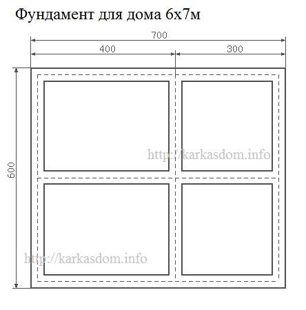 Фундамент для каркасного дома 6х7м 84м/кв