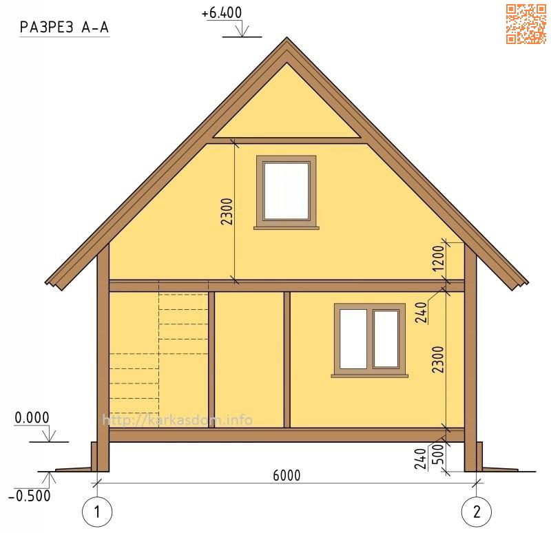 Каркасный дом 6х7м 84м/кв, высотные отметки