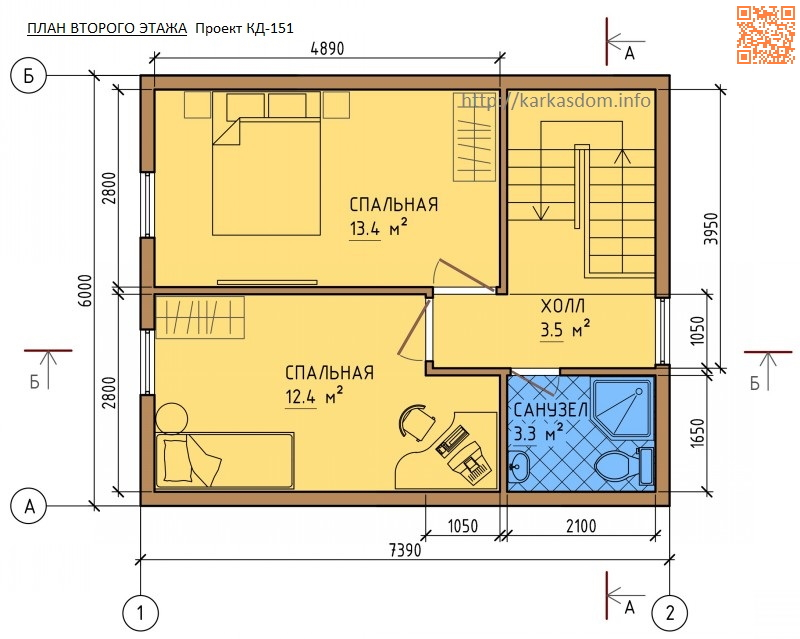 Второй этаж, Каркасный дом 6х10 104м/кв