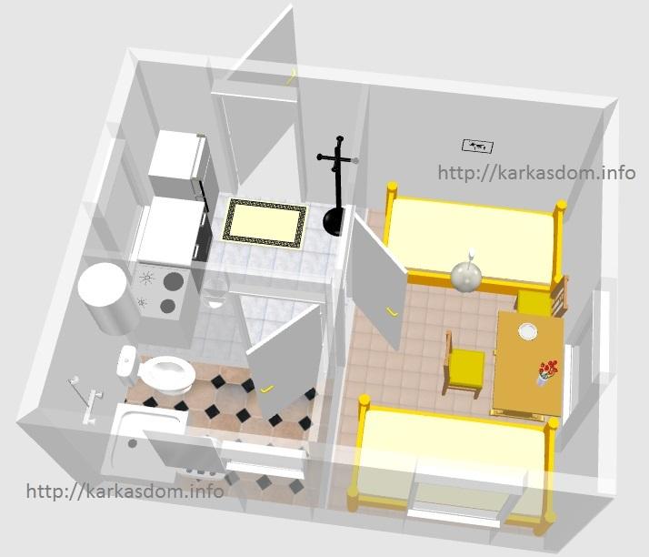 План каркасного дома 4х5м 20м/кв, вариант в 3D
