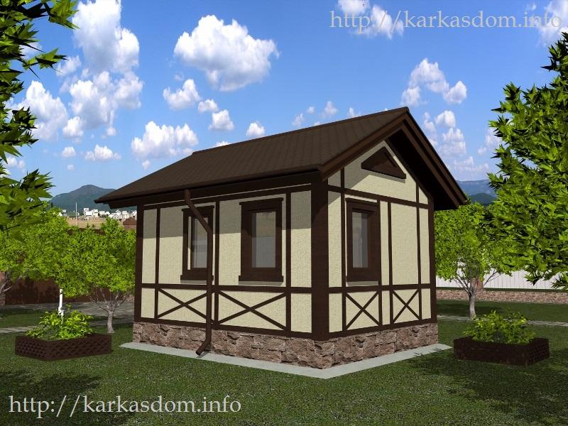 Второй вариант, Каркасный дом 4х5м 20м/кв