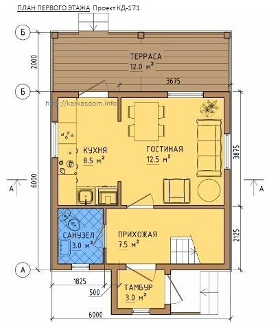 План каркасного дома 6х8м 84м/кв, первый этаж.