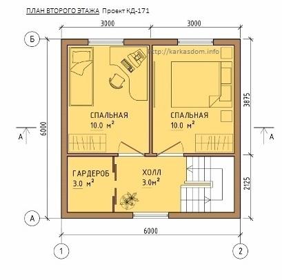 План каркасного дома 6х8м 84м/кв, второй этаж.