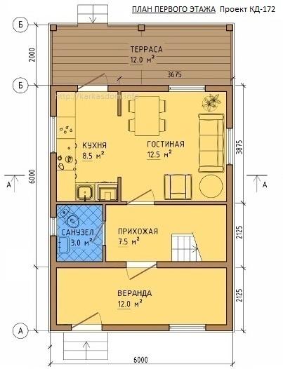 План каркасного дома 6х10м 96м/кв, Первый этаж.