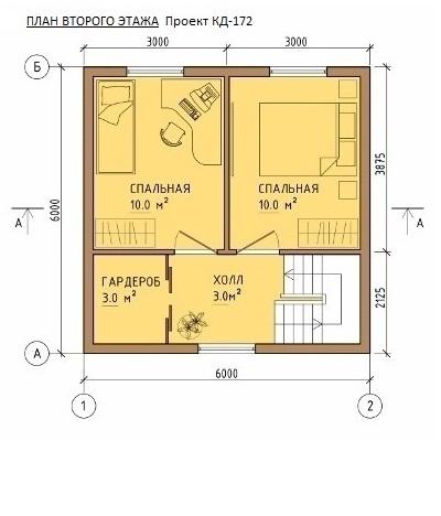 План каркасного дома 6х10м 96м/кв, Второй этаж.