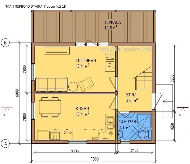 Первый этаж, Каркасный дом 8х7,4 118м/кв