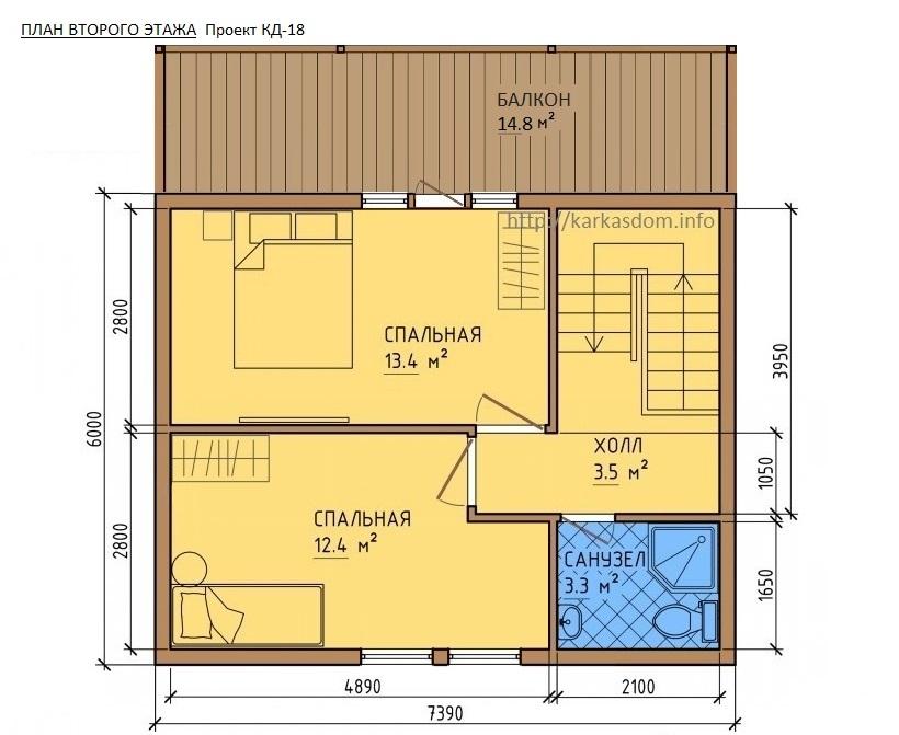 Второй этаж, Каркасный дом 8х7,4 118м/кв
