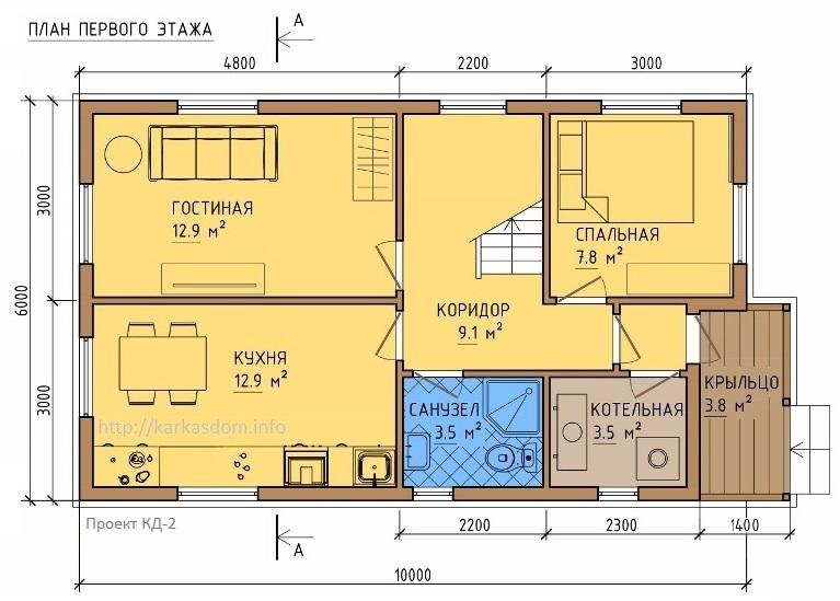 План каркасного дома 6х10,5м 121м/кв, стандартный вариант.