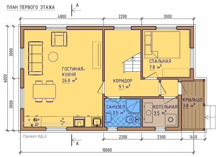 План первого этажа каркасного дома 6х10,5м 121м/кв Кухня/гостиная
