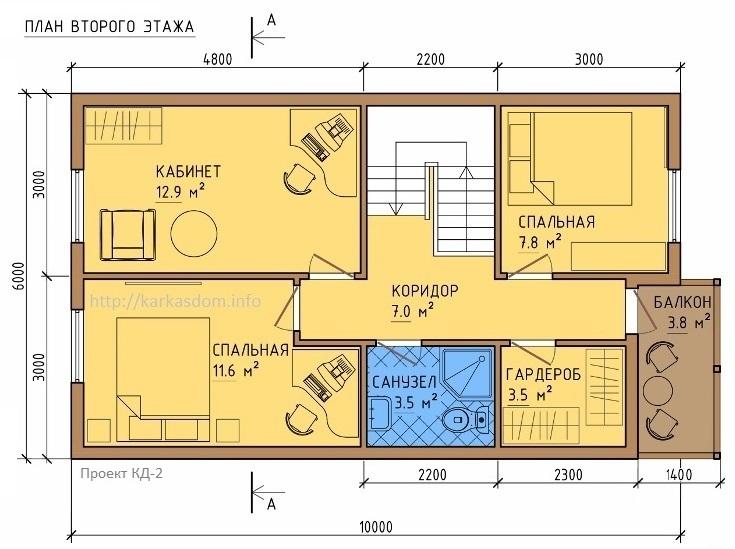 План второго этажа каркасного дома 6х10,5м 121м/кв, Вид в 3D