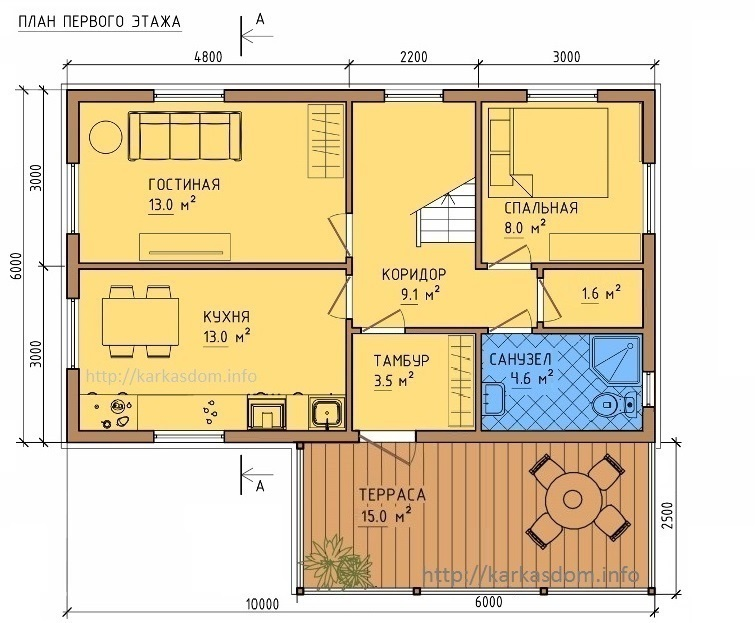 План каркасного дома 6х10м 120м/кв, стандартный вариант.