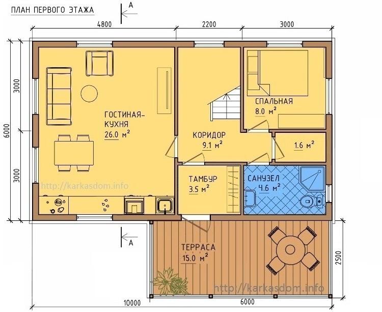 План первого этажа каркасного дома 6х10м 120м/кв Кухня/гостиная