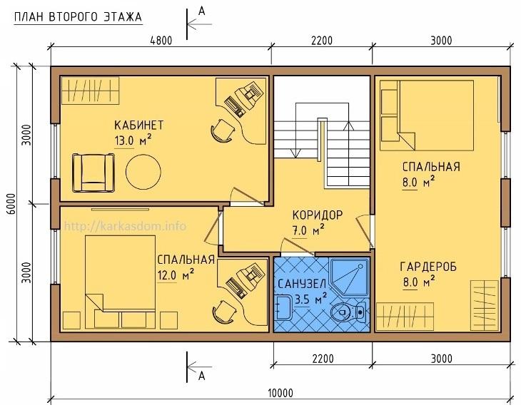 План второго этажа каркасного дома 6х10м 120м/кв.