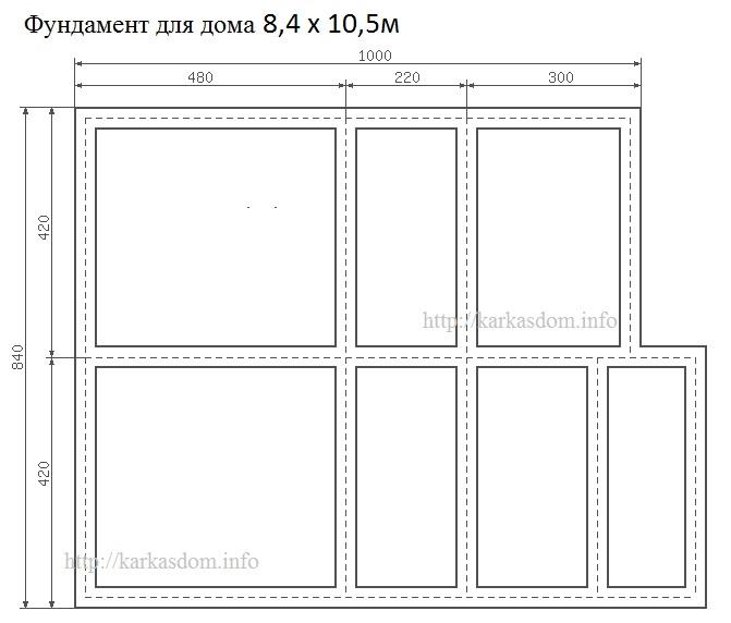 Фундамент для каркасного дома 8,5х10,5м 172м/кв