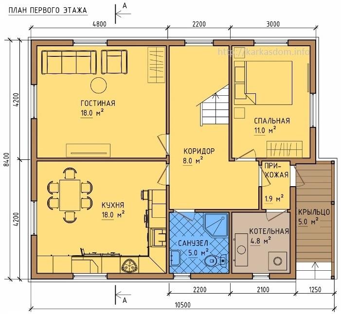 План каркасного дома 8,5х10,5м 172м/кв, стандартный вариант.