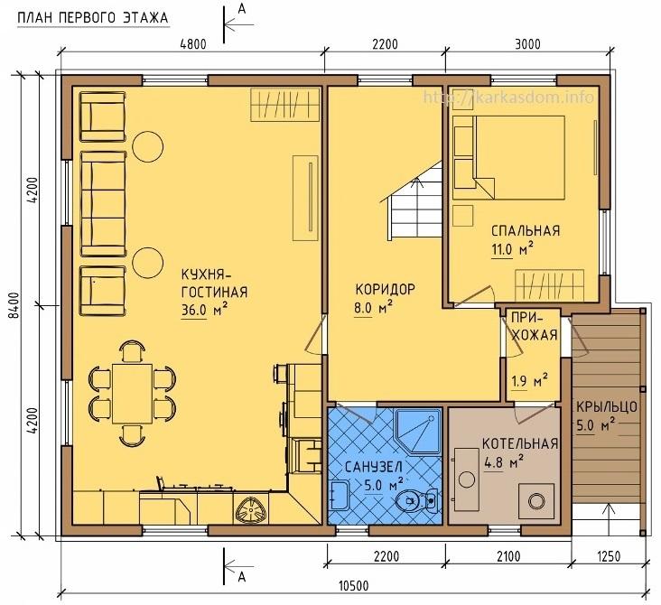 План первого этажа каркасного дома 8,5х10,5м 172м/кв Кухня/гостиная