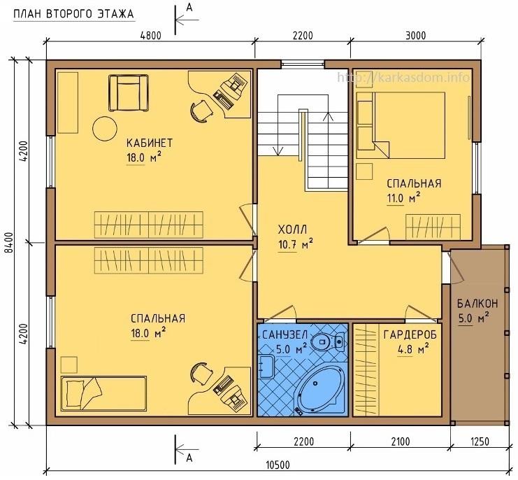 План второго этажа каркасного дома 8,5х10,5м 172м/кв, Вид в 3D