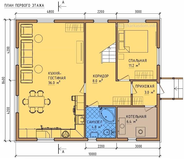 Двухэтажный дом 6х85 под ключ  фото и планировка