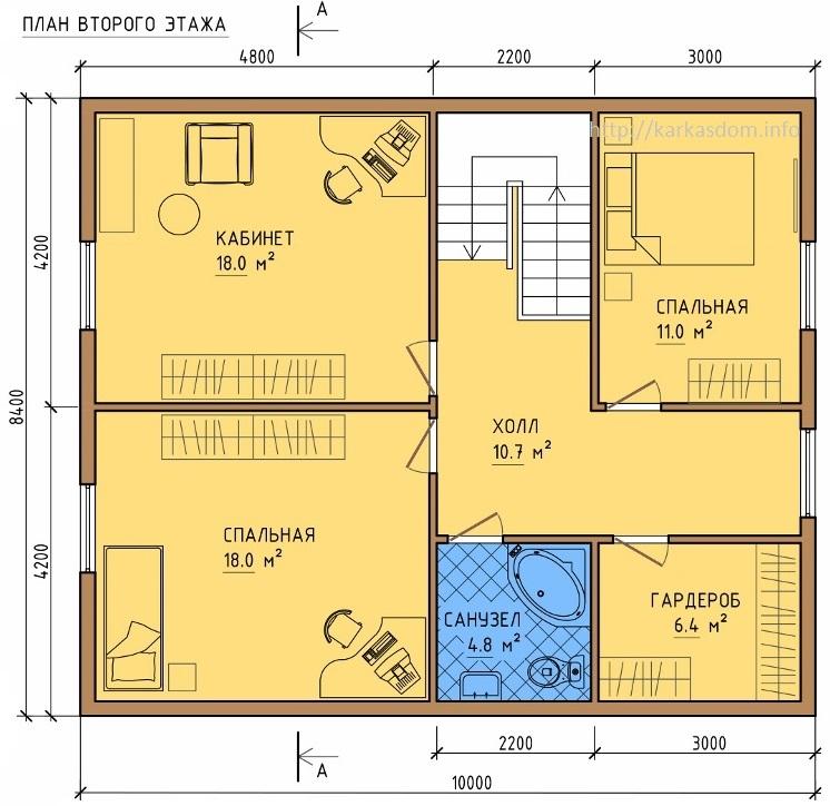 Проект дома 6 на 10 с мансардой и отличной планировкой | 724x746