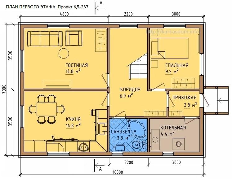 План каркасного дома 7х10м 140м/кв, стандартный вариант.