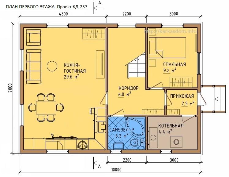План первого этажа каркасного дома 8,5х10м 168м/кв Кухня/гостиная