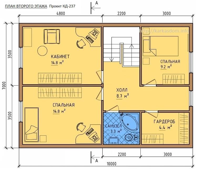 План второго этажа каркасного дома 7х10м 140м/кв
