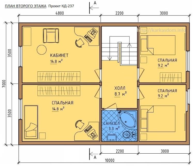 План второго этажа каркасного дома 7х10м 140м/кв 4 Комнаты