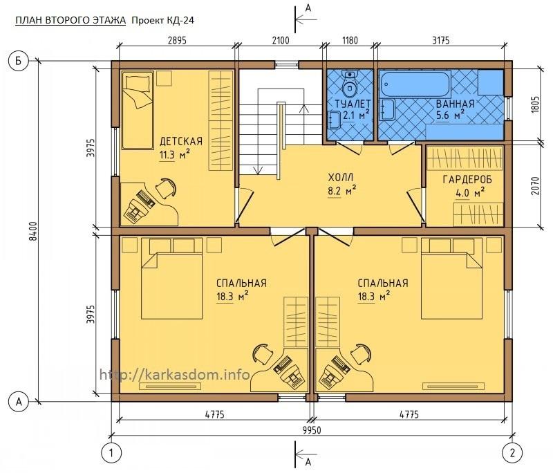 Второй этаж, Каркасный дом 8,4х10 167м/кв