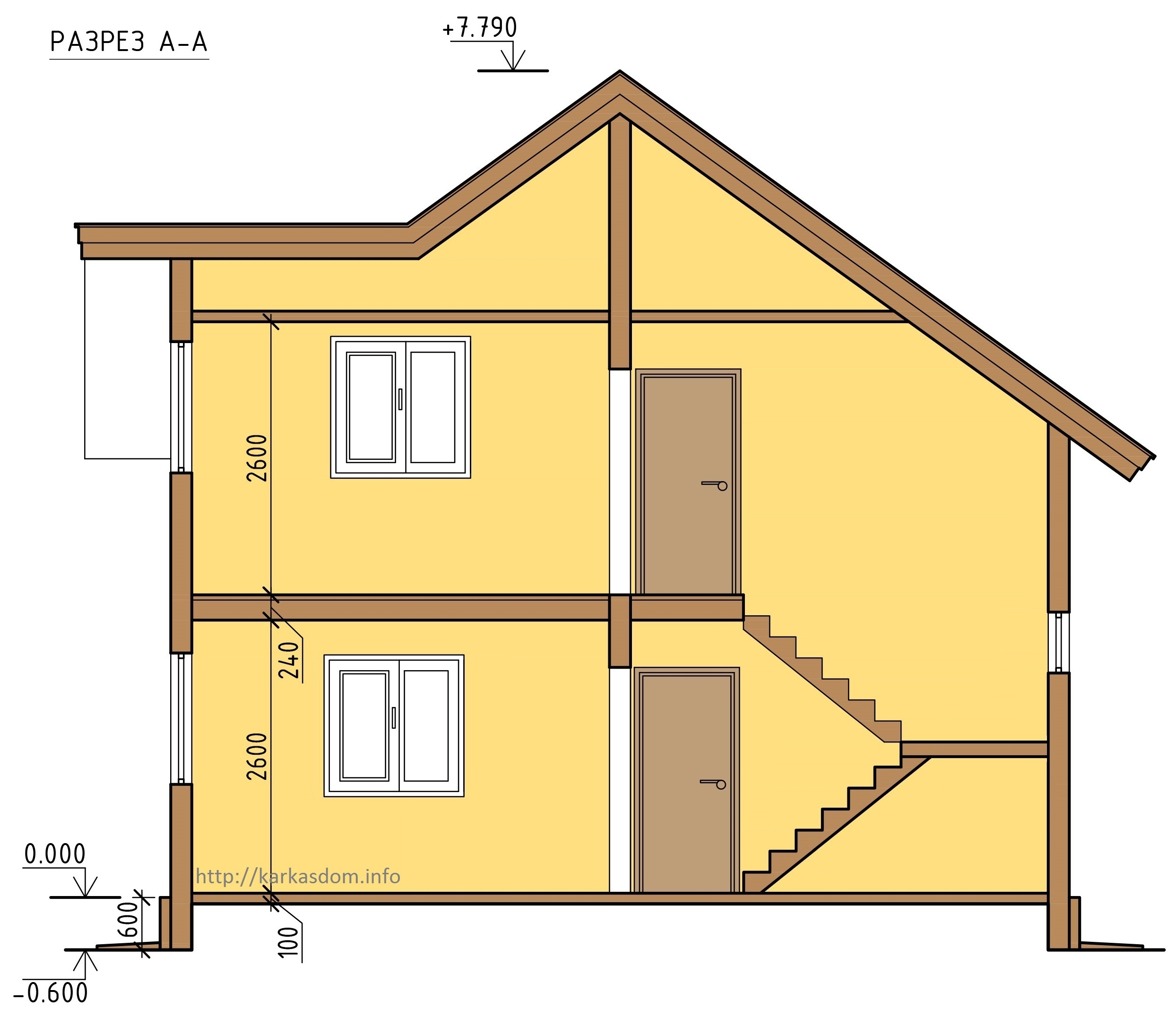 Первый вариант, Каркасный дом 8,4х10 167м/кв