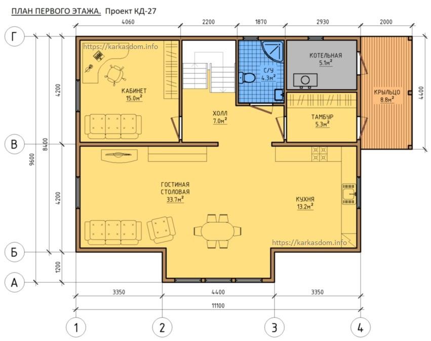 План 1 этаж каркасного дома 8,4х11 195м/кв