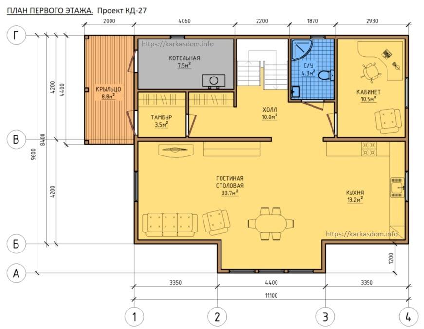 План 1 этаж каркасного дома 8,4х11 195м/кв, вход слево
