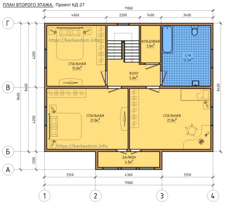 План второго этажа, 3 спальни, каркасного дома 8,4х11 195м/кв