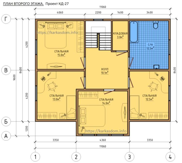 План второго этажа, 4 спальни, каркасного дома 8,4х11 195м/кв