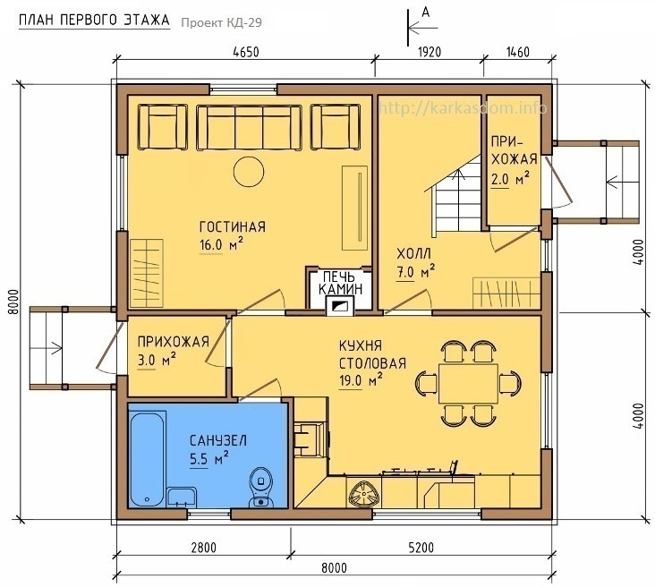План первого этажа каркасного дома 8х8м 128м/кв