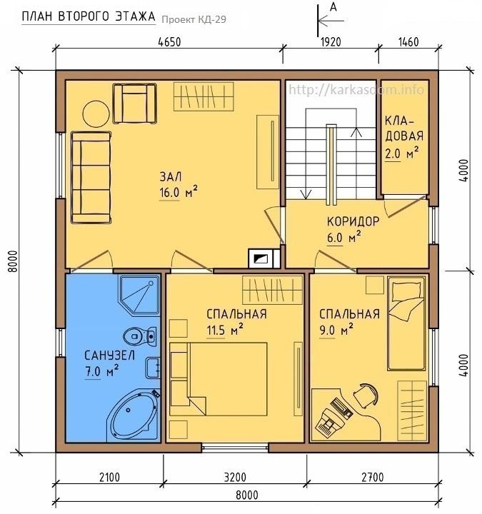 План второго этажа каркасного дома 8х8м 128м/кв