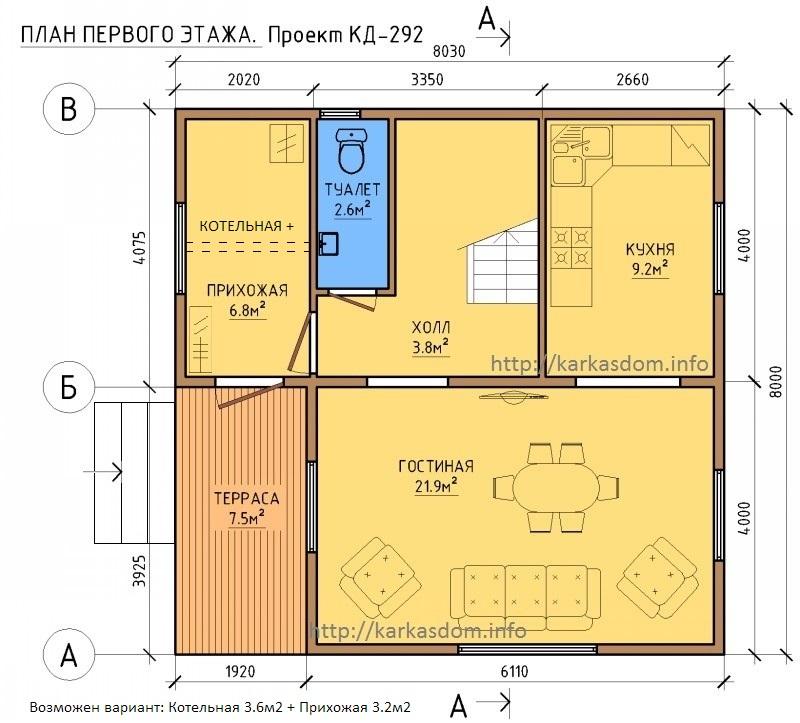 План 1 этаж каркасного дома 8х8 128м/кв
