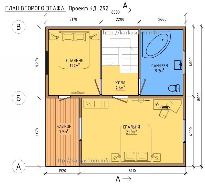 План второго этажа, каркасного дома 8х8 128м/кв