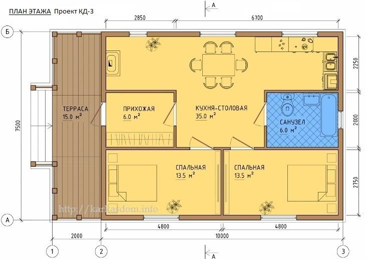 Дом 6 на 8 с мансардой: лучшая планировка | 518x731