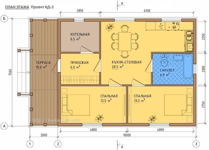 План каркасного дома 7,5х12м 90м/кв, вариант с котельной