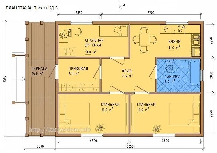 План каркасного дома 7,5х12м 90м/кв, вариант 3 спальни