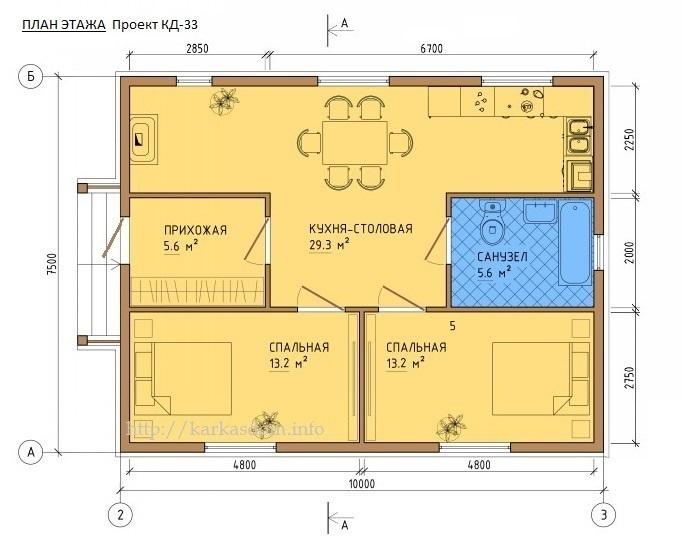 планировка домов 8 на 8 из пеноблоков фото