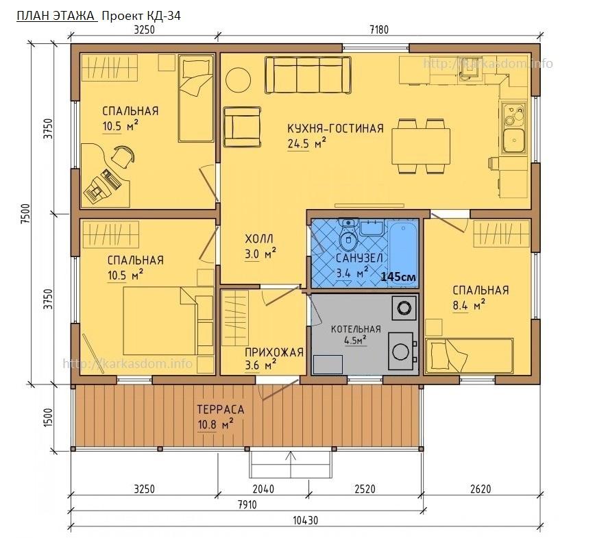 Проект каркасного одноэтажного дома своими руками