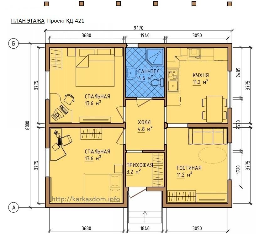 План каркасного дома 8х9,2м 73м/кв, стандартный вариант.