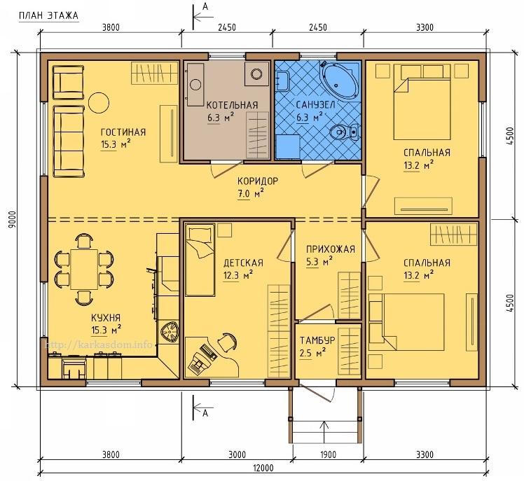 План каркасного дома 9х12м