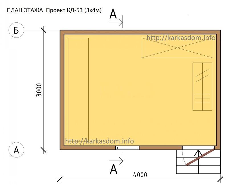 План каркасного хоз. блока, бытовка 3х4 12м/кв
